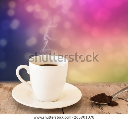 Black Coffee in white Cup on Bokeh background,instant coffee
