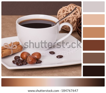 Black Coffee In White Cup. Palette With Complimentary Colour Swatches