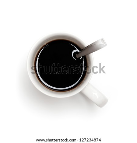 Black coffee in white cup with spoon, top view isolated on white - stock photo