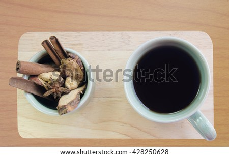 black coffee Indian Recipes mix spices cinnamon cardamom anise aroma drink taste aromatic intensity Coffee taste of the East  - stock photo
