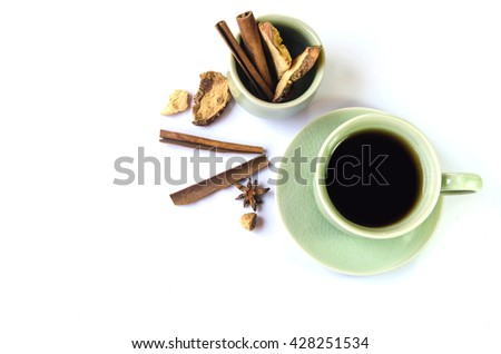 black coffee Indian Recipes mix spices cinnamon cardamom anise aroma drink taste aromatic intensity Coffee taste of the East white background - stock photo