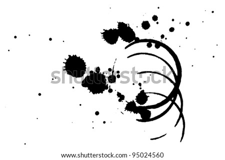 Black coffee stains on white background - stock photo