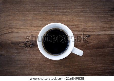 Black coffee top view - stock photo