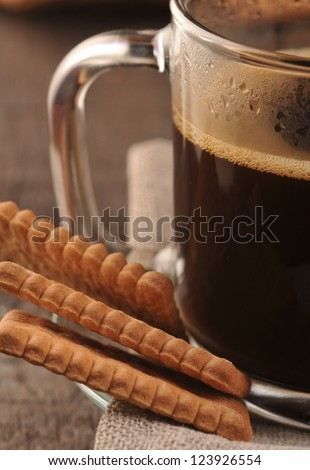Black coffee with cookies