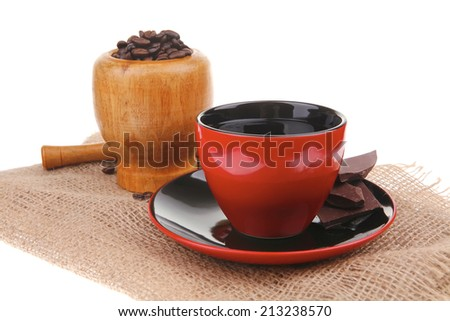 black coffee with dark chocolate and beans - stock photo