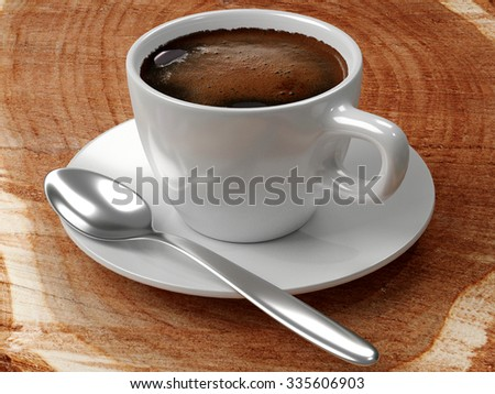 Black coffee with froth in a white porcelain cup, saucer of same material, and a silver spoon, all on a table made of a tree stump with growth rings. Rendered 3d design.