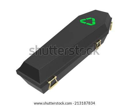 Black coffin with recycling symbol, 3d render - stock photo