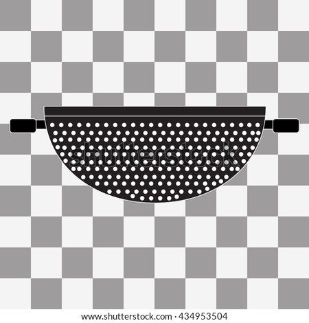 Black Colander Icon on transparency background - stock photo