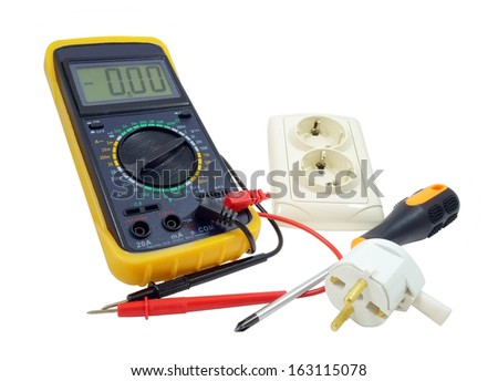 Black color digital multimeter isolated on white background - stock photo