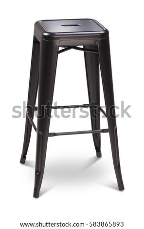 Black Color High Bar Stool, Chair, Plastic, Metal Chair, Modern Designer.