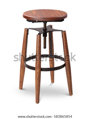 black color high spinning wooden bar stool chair wood metal chair modern