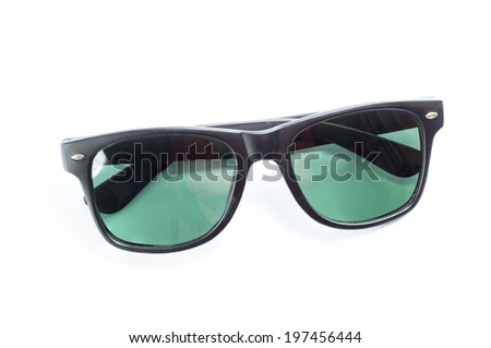 Black color of sun glasses isolated on white background - stock photo