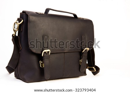 black colored leather executive bag ideal for corporate world isolated on white available with clipping path - stock photo