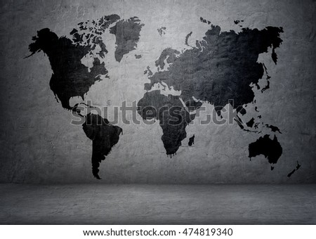 Blackcolored world map on concrete wall stock photo 474819340 black colored world map on concrete wall continents and islands planet earth gumiabroncs Images