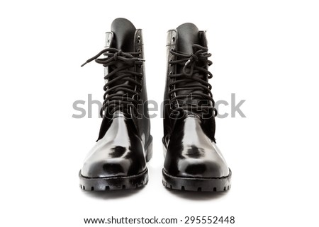 black combat boot shoe for soldier on white background