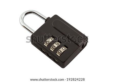 Black combination padlock isolated on white background. - stock photo