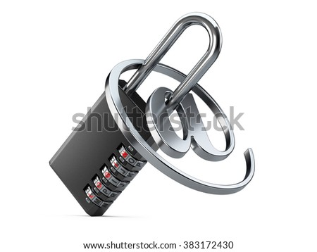 Black combination padlock with login and internet symbol on a white background. Concept internet security - stock photo