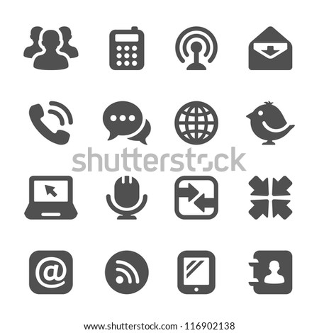 black communication icons - stock photo