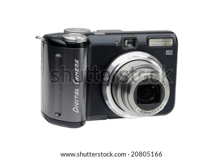 Black Compact Digital Camera. Clipping path included for easy extraction.