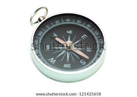 Black compass isolated over white