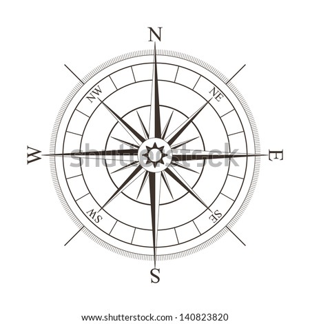 Black compass rose isolated on white - stock photo