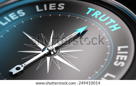 Black compass with needle pointing the word truth. Blue tones. Background image for illustration of solutions concept - stock photo