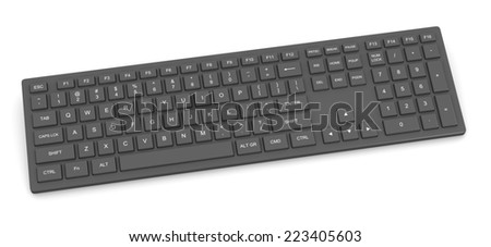 Black Complete Pc Keyboard Isolated on White Background