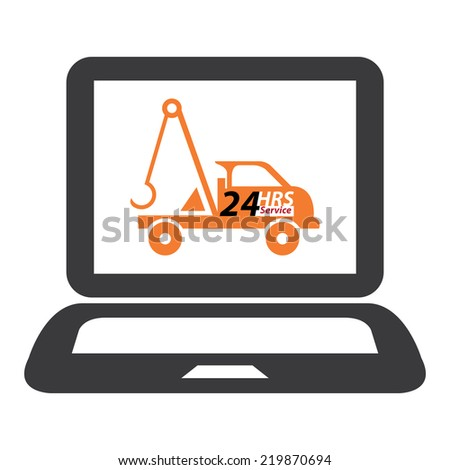 Black Computer Laptop With 24 HRS Service Tow Car or Truck on Screen Sign, Icon or Label Isolated on White Background  - stock photo