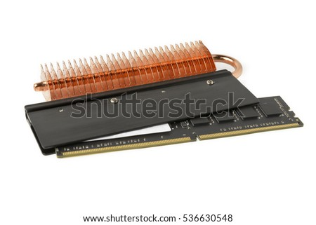 Black computer memory modules with cooling heatsink on the white background