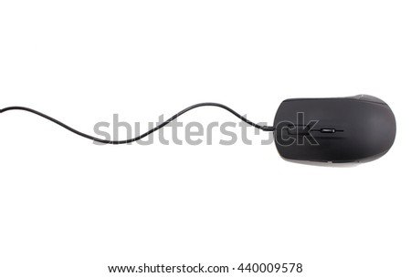 black computer mouse on white background - stock photo