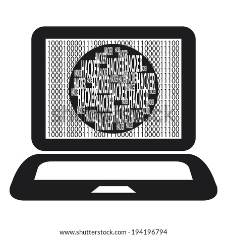 Black Computer Notebook or Laptop With Binary Number and Hacker Text on Screen Isolated on White Background - stock photo