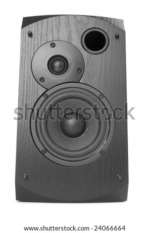 black computer speaker isolated on the white background - stock photo