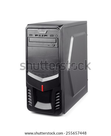 Black computer system unit isolated on whte - stock photo
