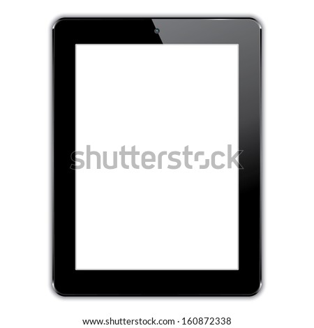 black computer tablet.  realistic illustration.(rasterized version) - stock photo