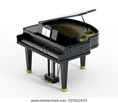 Black concert piano isolated on white.