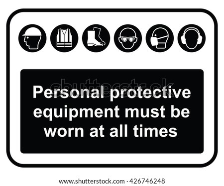 Black construction industry mandatory wear personal protection equipment sign to current British Standards isolated on white background - stock photo