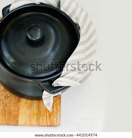 Black cooking pot  - stock photo
