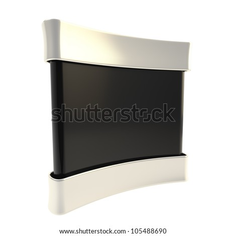 Black copyspace empty panel stand board isolated on white - stock photo