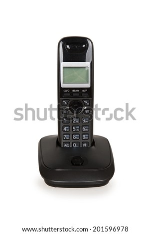 Black cordless telephone isolated on a white background