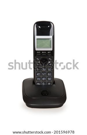 Black cordless telephone isolated on a white background - stock photo