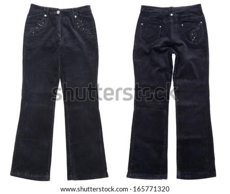 Black corduroy trousers on white background - stock photo