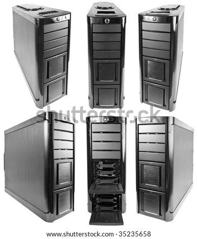 black corp case of computer isolated on white background - stock photo