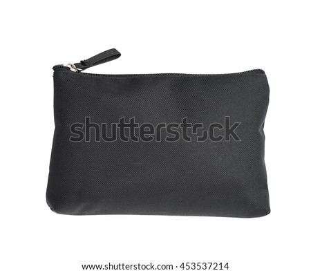 Black cosmetic bag with a zipper isolated over the white background - stock photo