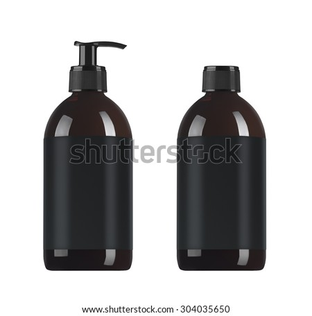 Black cosmetic bottles isolated on white - stock photo