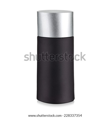 black cosmetic container with silver cap - stock photo