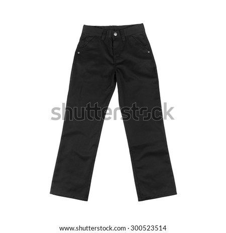 Black cotton denim trousers for men or boy, pants for school uniforms, holidays, celebrations isolated on white background - stock photo