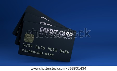 Black credit card on blue background - stock photo