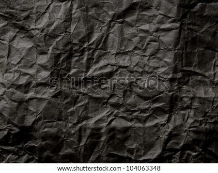 black crumpled paper texture background - stock photo