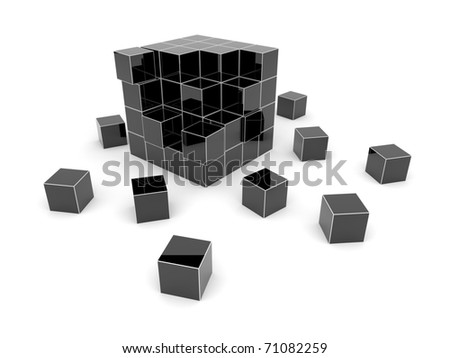 Black cube 3D. Isolated. - stock photo