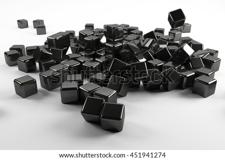Black cubes falling down like teamwork 3d render